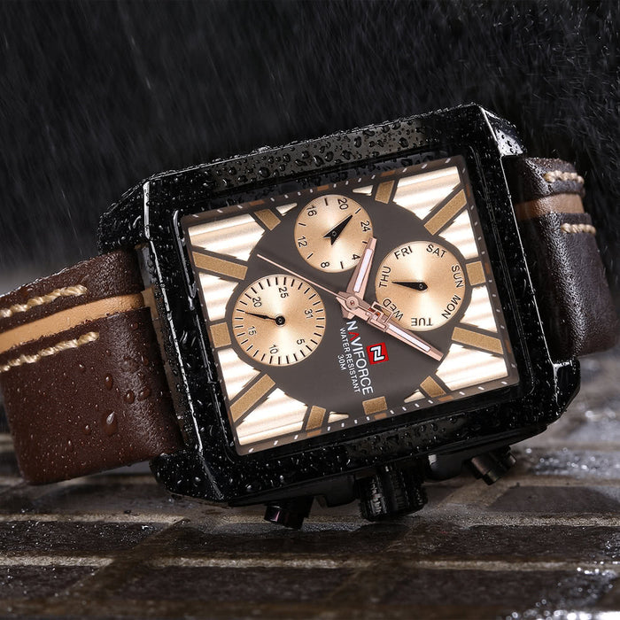 Luxury Genuine Leather Quartz Men Watch Water-Proof with Sub-dials + Box