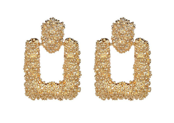 Gold Rectangle Fashion Earrings