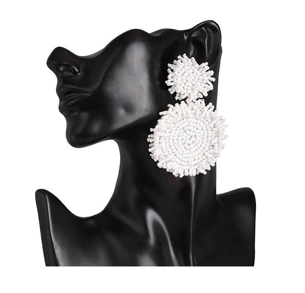 Round White Earrings