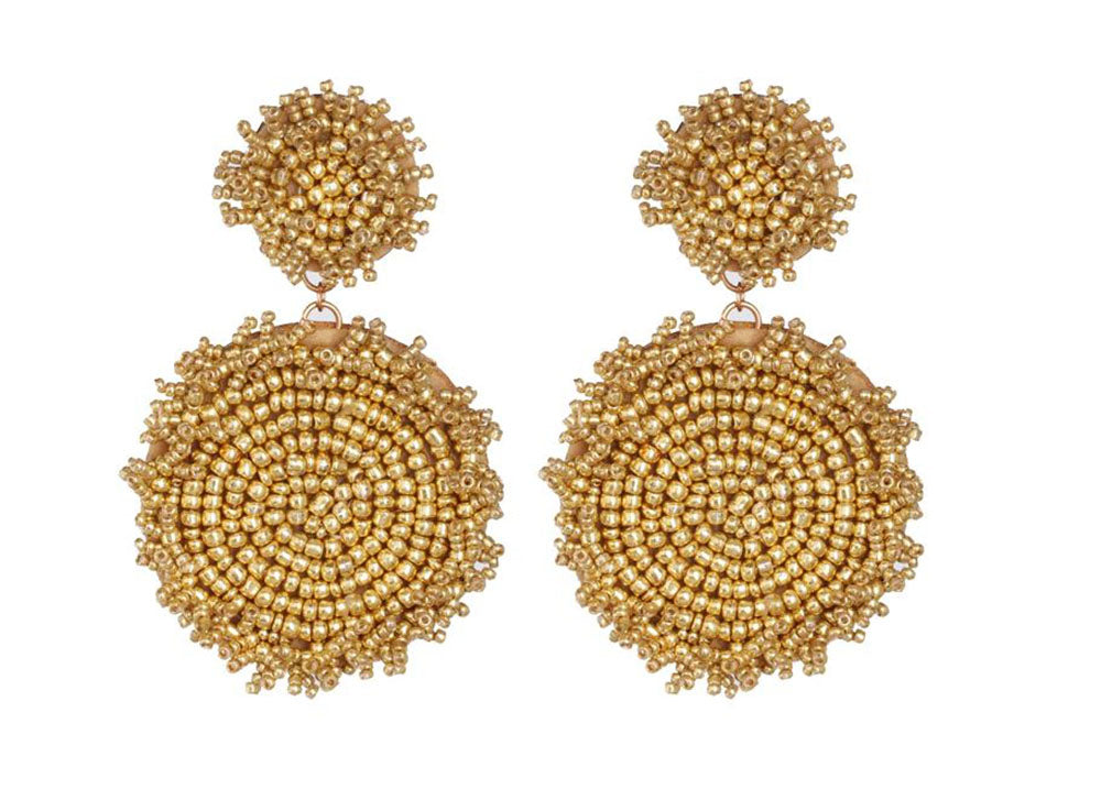 Round Gold Beaded Earrings