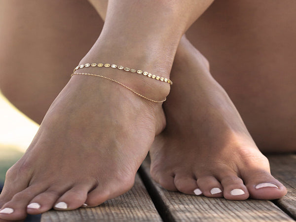 Foot Gold Layered Anklet Chain Delicate Disc - Essentially Silver Jewelry
