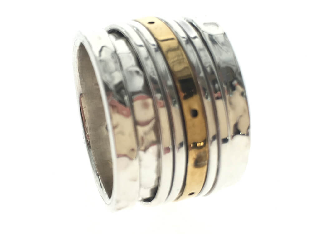 Beaten Spinning Band With Brass Middle .925 Sterling Silver Ring