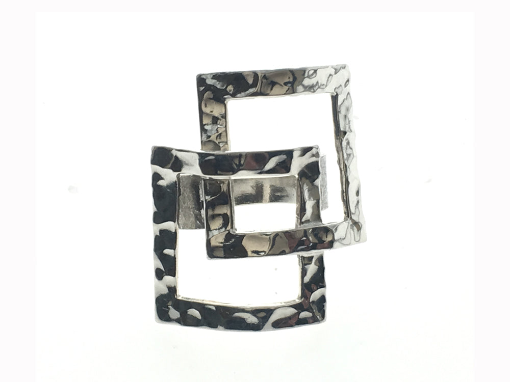 Hammered Cut out Square Sterling Silver Ring