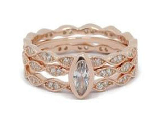 Rose Gold Plated Rose Cubic Zirconia Stacking Sterling Silver Ring - Essentially Silver Jewelry
