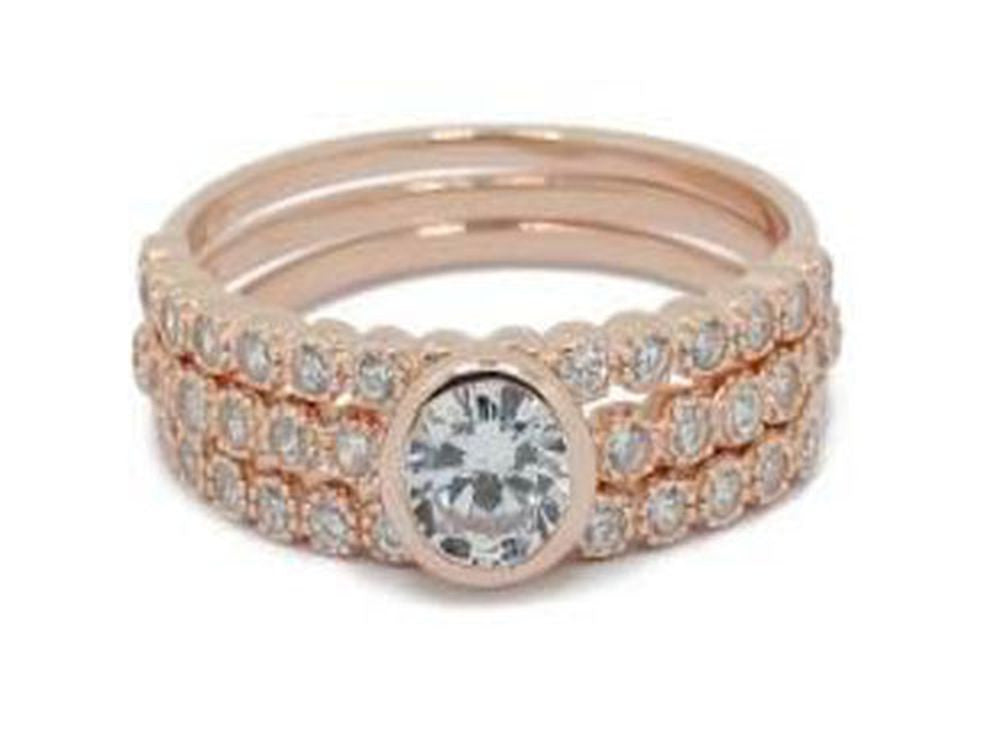 Rose Gold Plated Cubic Zirconia Stacking 925 Sterling Silver Ring - Essentially Silver Jewelry