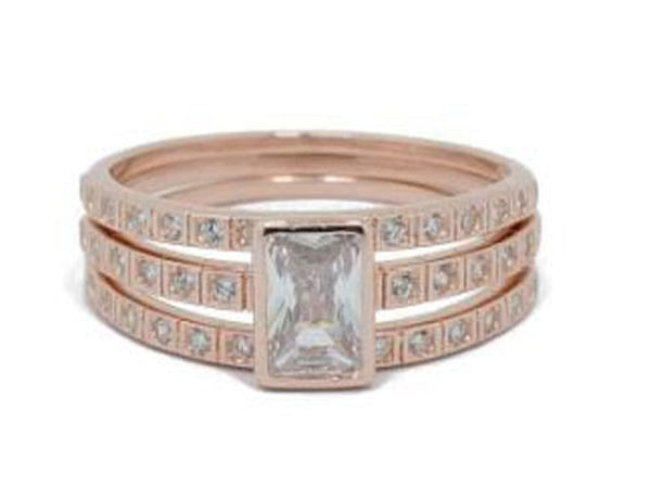 Rose Gold Plated Stacking Cubic Zirconia Sterling Silver Ring