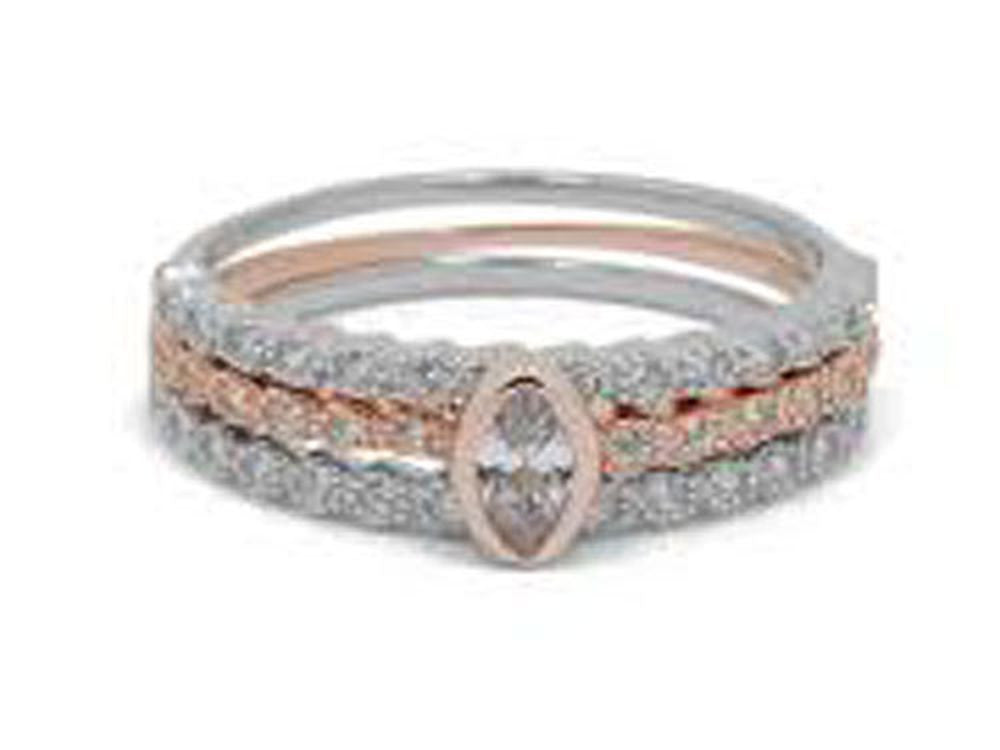 Rose Gold Plated Middle Cubic Zirconia Sterling silver Ring - Essentially Silver Jewelry
