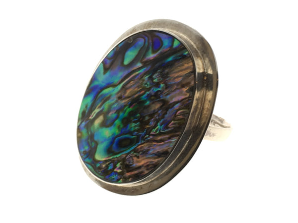 Paua Oval Sterling Silver Framed Ring - Essentially Silver Jewelry