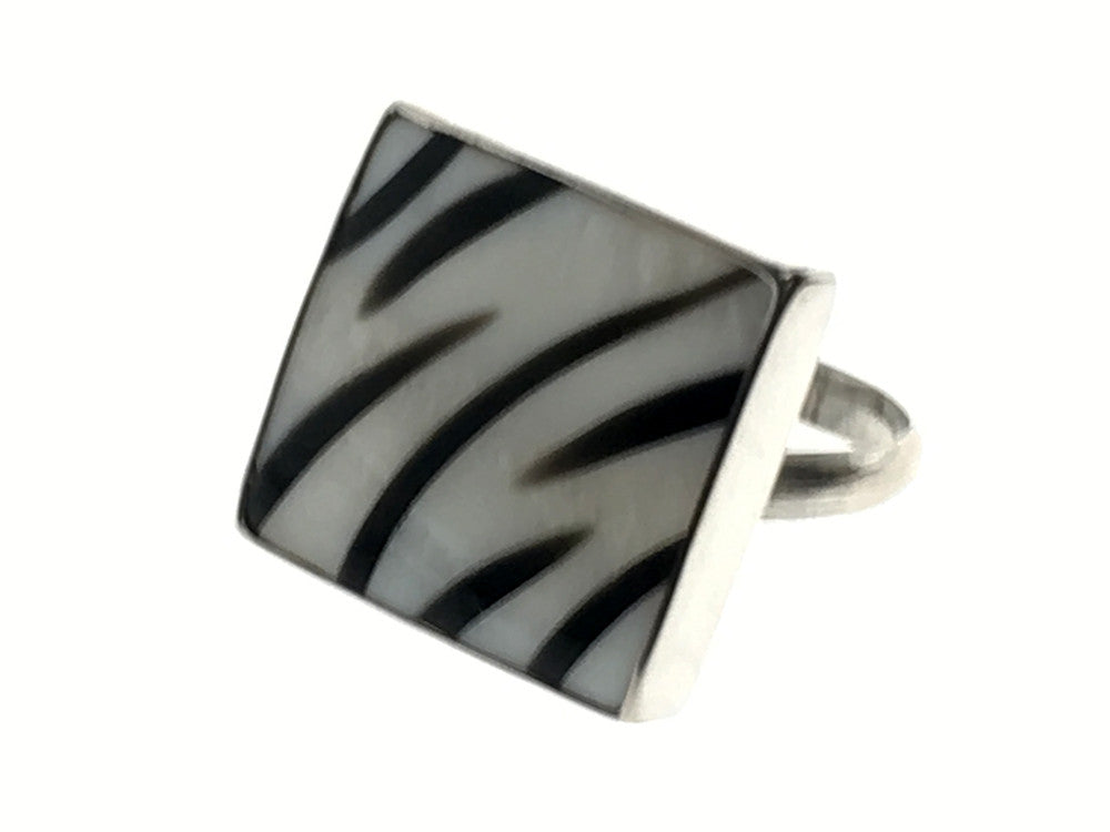 Zebra Shell .925 Sterling Silver Ring