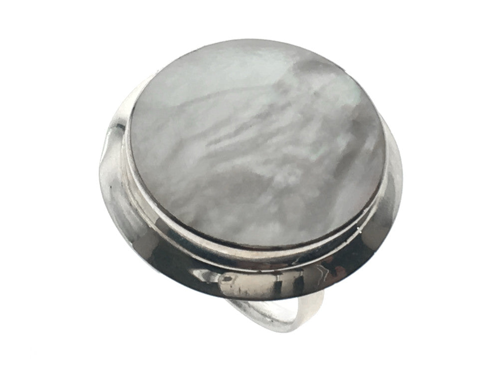 Mother of Pearl Framed Sterling Silver Ring - Essentially Silver Jewelry