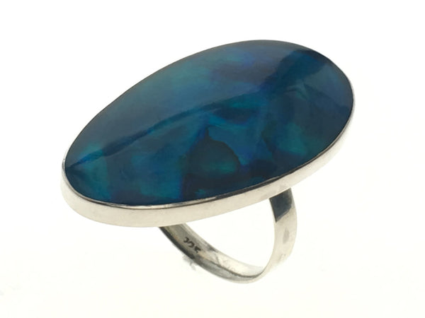 Paua Blue Dyed 9.25 Sterling Silver Ring - Essentially Silver Jewelry