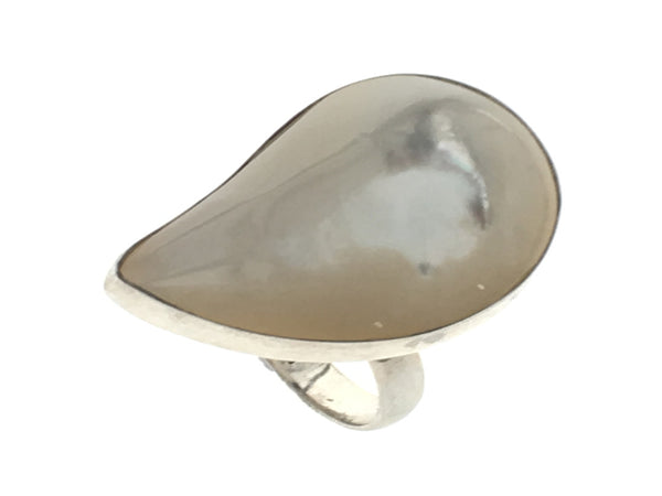 Mother of Pearl Comma Sterling Silver Ring - Essentially Silver Jewelry