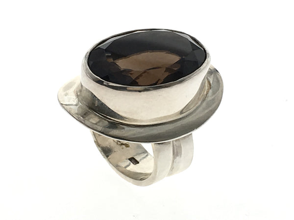 Smoky Topaz Faceted Sterling Silver Ring - Essentially Silver Jewelry