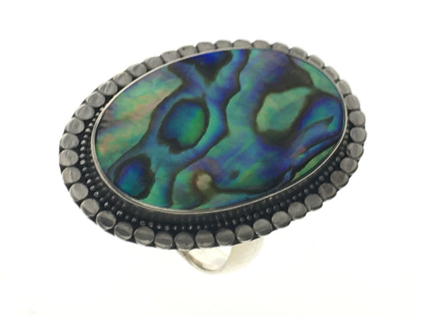 Paua Oval Framed .925 Sterling Silver Ring - Essentially Silver Jewelry