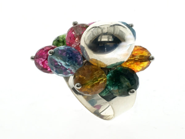 Gemstone Beaded Sterling Silver Flower Ring - Essentially Silver Jewelry
