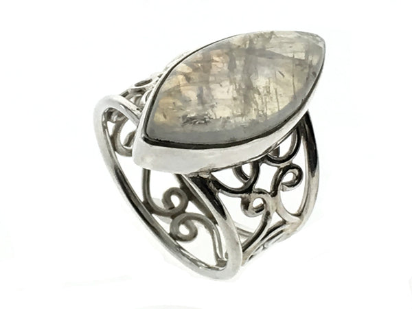 Moonstone Silver Lattice Sterling Silver Ring - Essentially Silver Jewelry