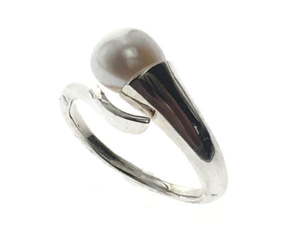 Pearl End Sterling Silver Wrap Ring - Essentially Silver Jewelry