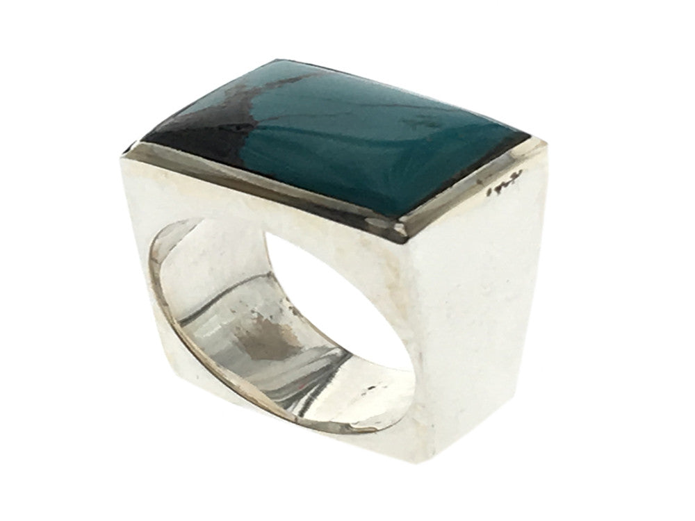 Turquoise Rectangle .925 Sterling Silver Ring - Essentially Silver Jewelry