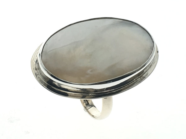 Mother Of Pearl Sterling Silver Ring (Adjustable) - Essentially Silver Jewelry