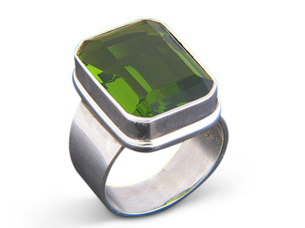 Peridot Rectangle .925 Sterling Silver Ring - Essentially Silver Jewelry