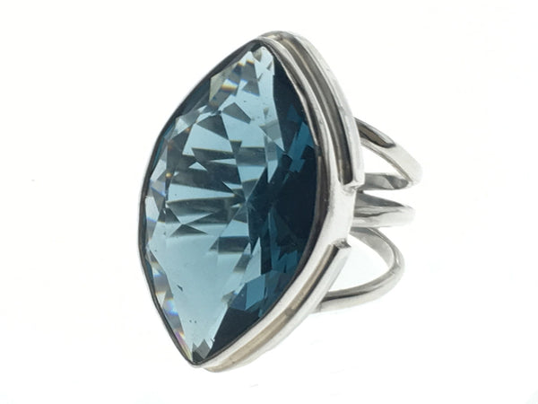 Blue Cubic Zirconia Large Canoe Sterling Silver Ring - Essentially Silver Jewelry