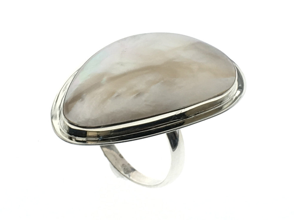 Mother of Pearl Teardrop Sterling Silver Ring