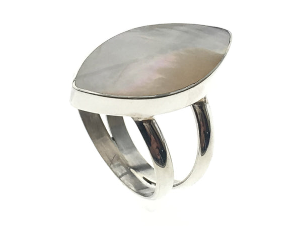 Mother of Pearl Canoe Shaped Sterling Silver Ring - Essentially Silver Jewelry