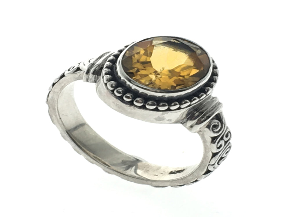 Citrine Swirl Band Sterling Silver Ring