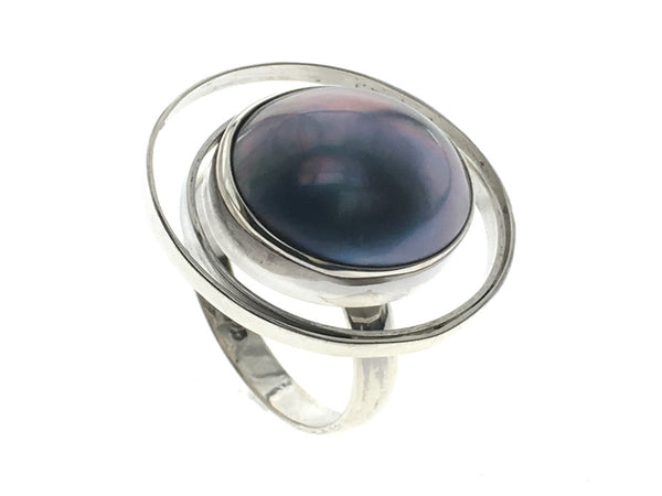 Mabe Pearl Saturn .925 Sterling Silver Ring
