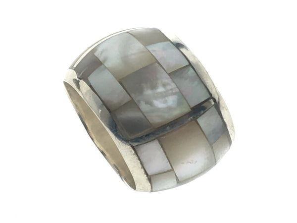 Mother of Pearl Half Wire Rounded 15mm Sterling Silver Band - Essentially Silver Jewelry