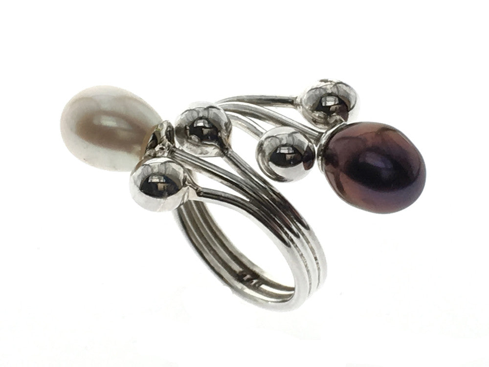 Pearl .925 Sterling Silver Wrap Ring - Essentially Silver Jewelry