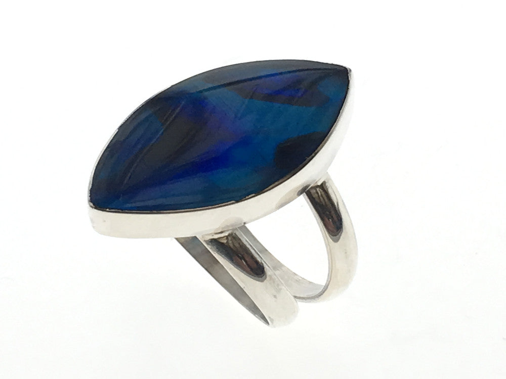 Paua Dyed Blue Petal Sterling Silver Ring
