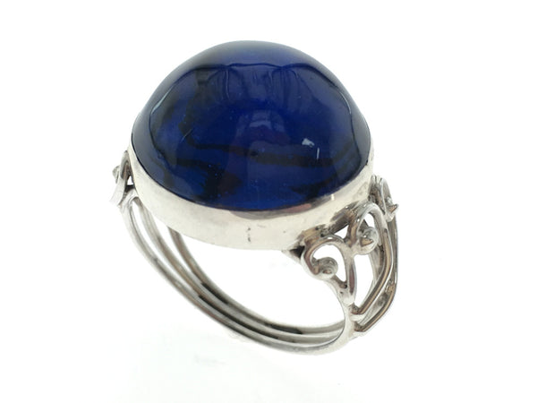 Blue Stone Round Sterling Silver Ring - Essentially Silver Jewelry