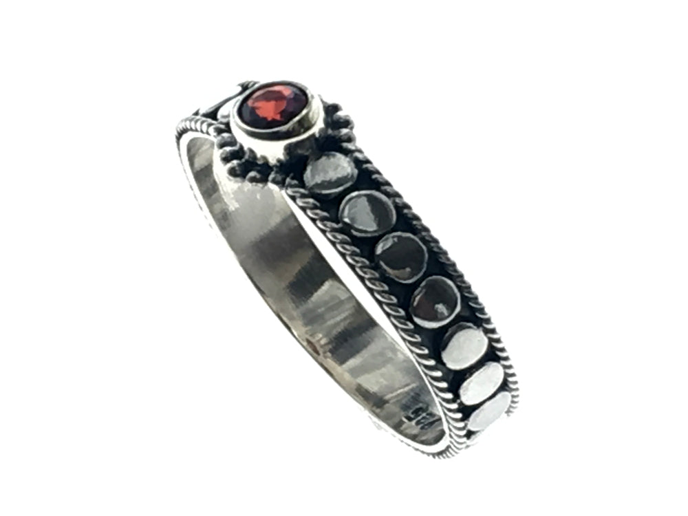 Garnet Sterling Silver Studded Ring