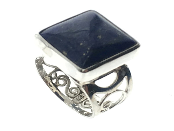 Lapis Lazuli Lattice Sterling Silver Ring - Essentially Silver Jewelry
