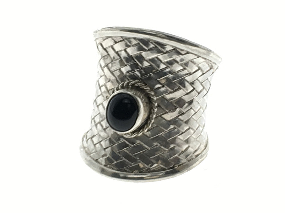 Onyx Weaved Shield .925 Sterling Silver Ring - Essentially Silver Jewelry