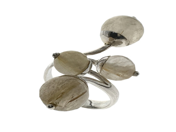 Rutilated Quartz Ball .925 Sterling Silver Ring