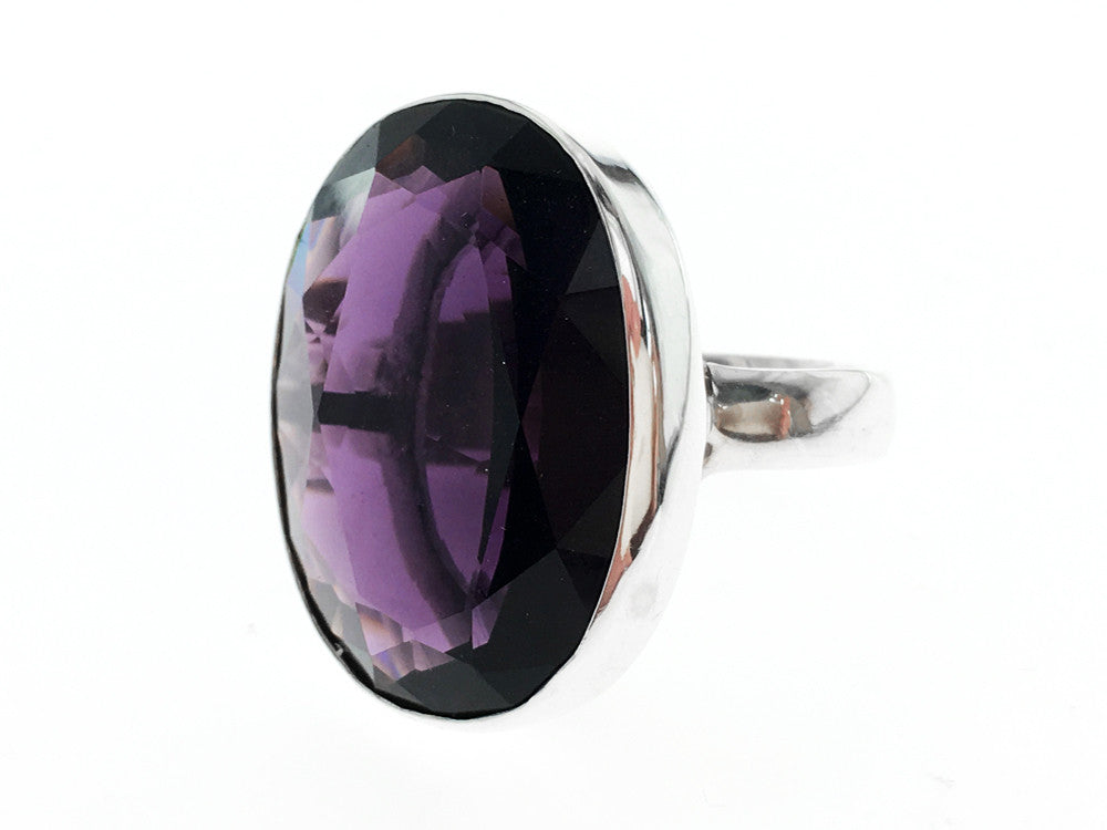 Amethyst Like Large .925 Sterling Silver Ring - Essentially Silver Jewelry