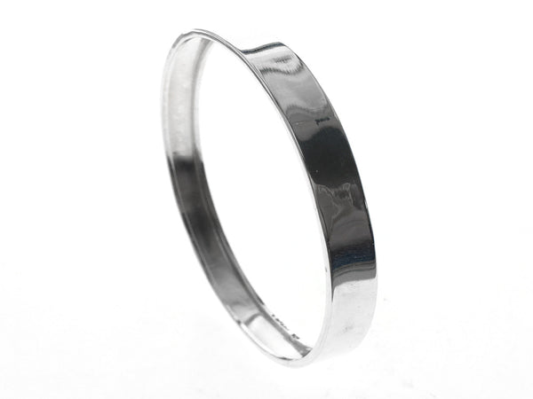 Round Flat 9mm Rimmed Inside .925 Sterling Silver Bangle - Essentially Silver Jewelry