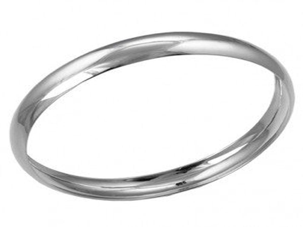 Half Wire 8mm Round Sterling Silver Bangle