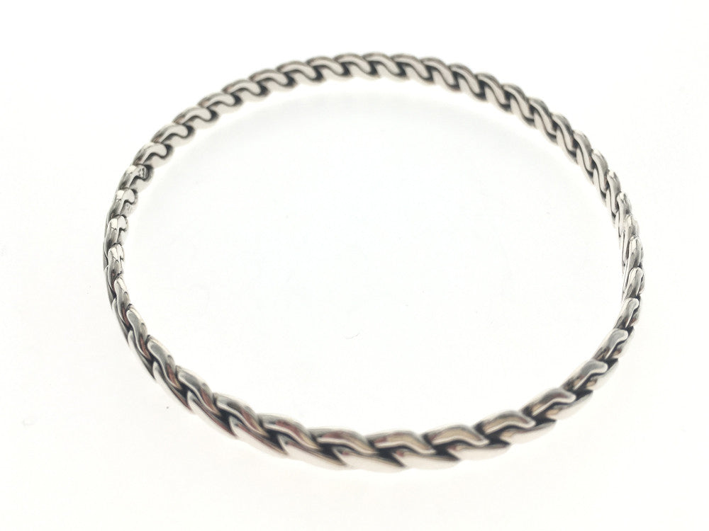 Plaited 4mm Sterling Silver Bangle - Essentially Silver Jewelry