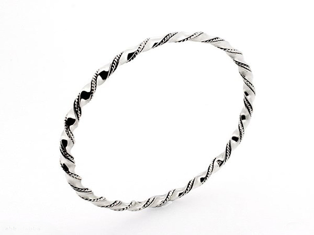 Twisted 3mm Sterling Silver Bangle - Essentially Silver Jewelry