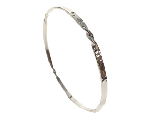 Twisted 3mm Plain .925 Sterling Silver Bangle - Essentially Silver Jewelry