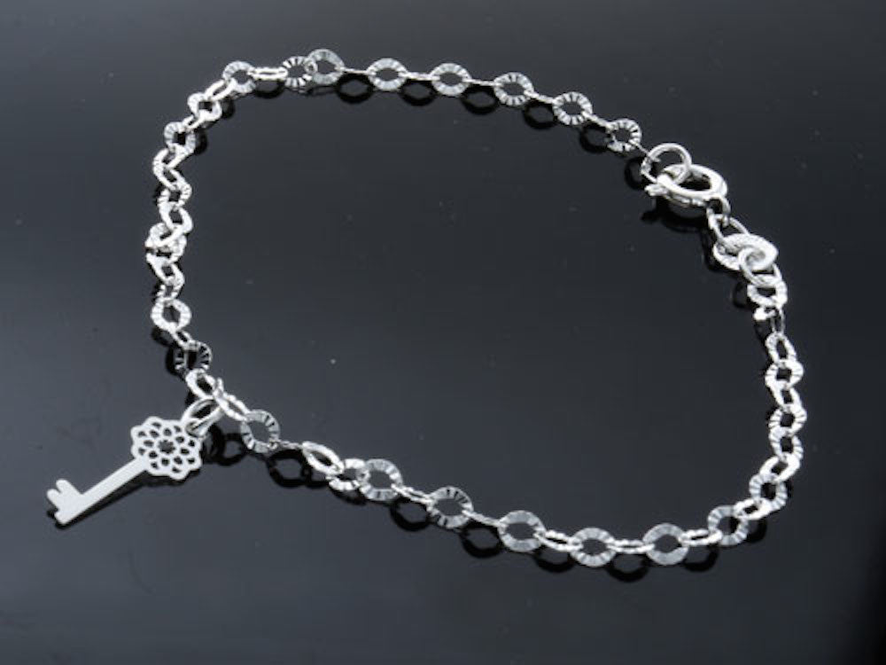 Sparkly .925 Sterling Silver Chain with Key Charm - Essentially Silver Jewelry