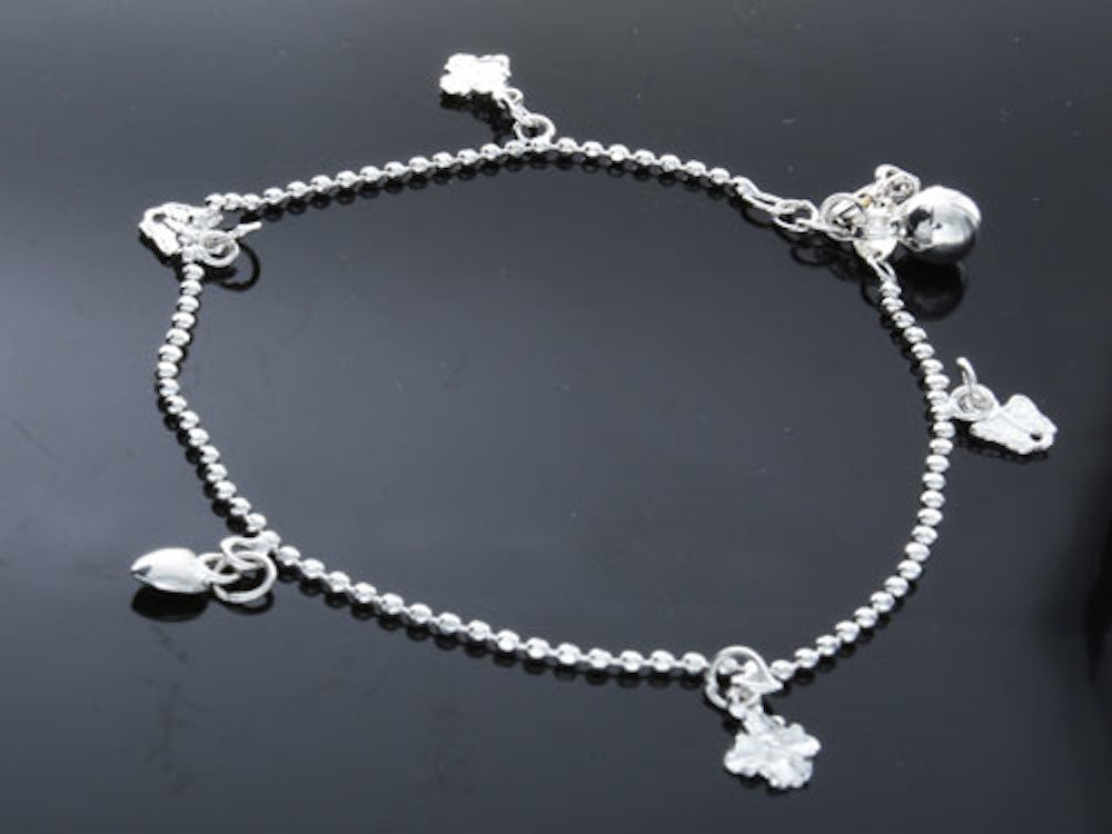 Flower/Butterfly/Heart Silver Charm Bracelet - Essentially Silver Jewelry