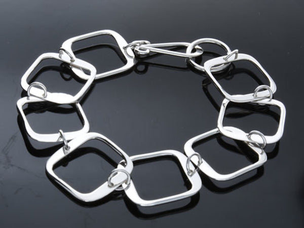 Square .925 Sterling Silver Link Bracelet - Essentially Silver Jewelry