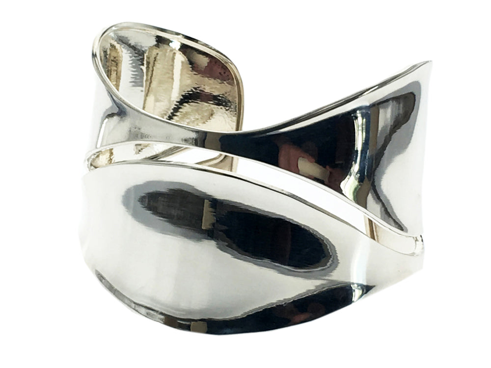 Slitted Designer Sterling Silver Cuff - Essentially Silver Jewelry