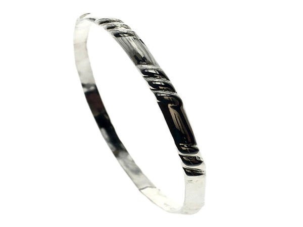 Grooved 4mm Sterling Silver Bangle - Essentially Silver Jewelry