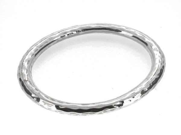 Beaten 8mm Round .925 Sterling Silver Bangle - Essentially Silver Jewelry