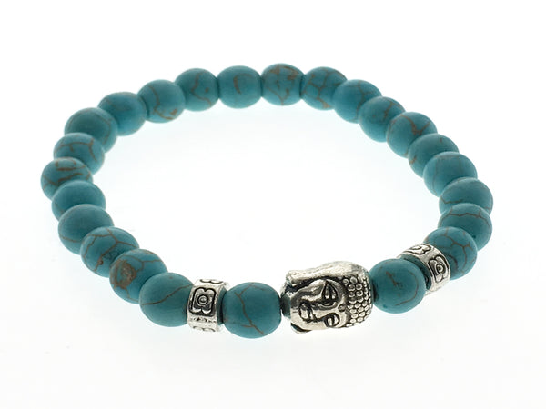Turquoise 8mm ball budha stretchy bracelet